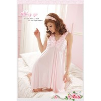 Girl explosion models real shot satin a nightdress (sweet pink)