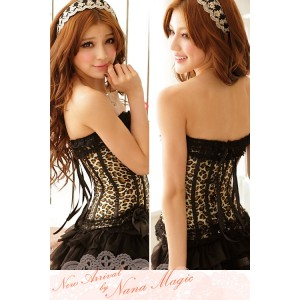 Gather slimming corset (Leopard) - without skirt