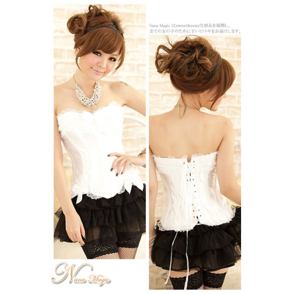 Korea explosion models gather slimming corset X070 (White) - without skirt