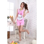 Counters boutique Love Mary the cat cartoon Pyjamas_Sold ZY105 (pink)