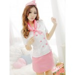 Japan beautiful girl role-playing flight uniform (white pink)