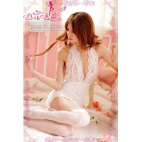 The temptation Xiasi sexy tease jumpsuit pajamas (white)