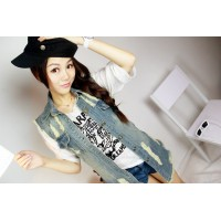 Washing frayed hole cowgirl shirt sleeveless denim jacket